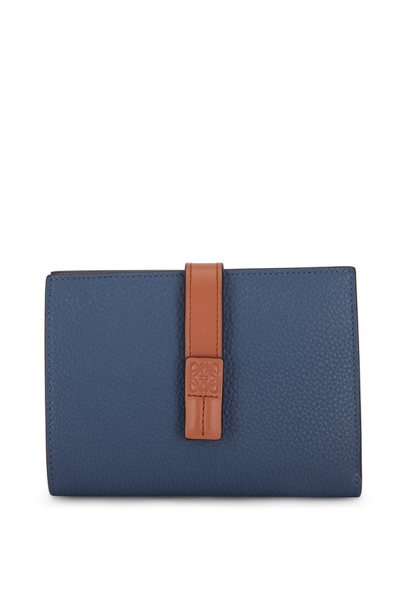 Loewe Vertical Steel Blue & Tan Medium Wallet