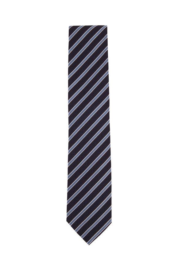Ermenegildo Zegna Navy Blue Diagonal Striped Silk Necktie