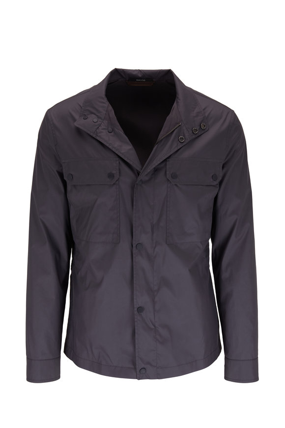 Ermenegildo Zegna Gray Blue Lightweight Nylon Jacket