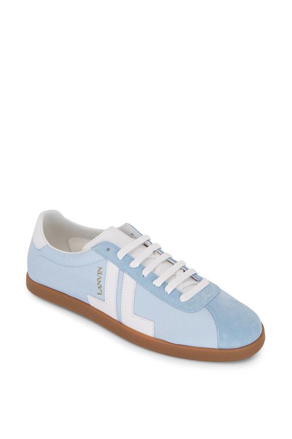 Lanvin Glen Light Blue Nylon & Leather Low-Top Sneaker