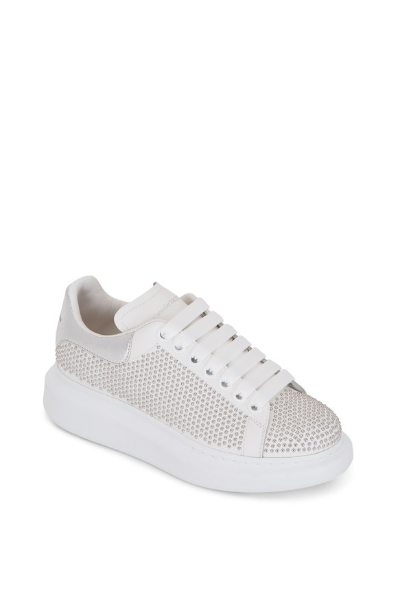 Alexander McQueen White & Silver Studded Exaggerated Sole Sneaker