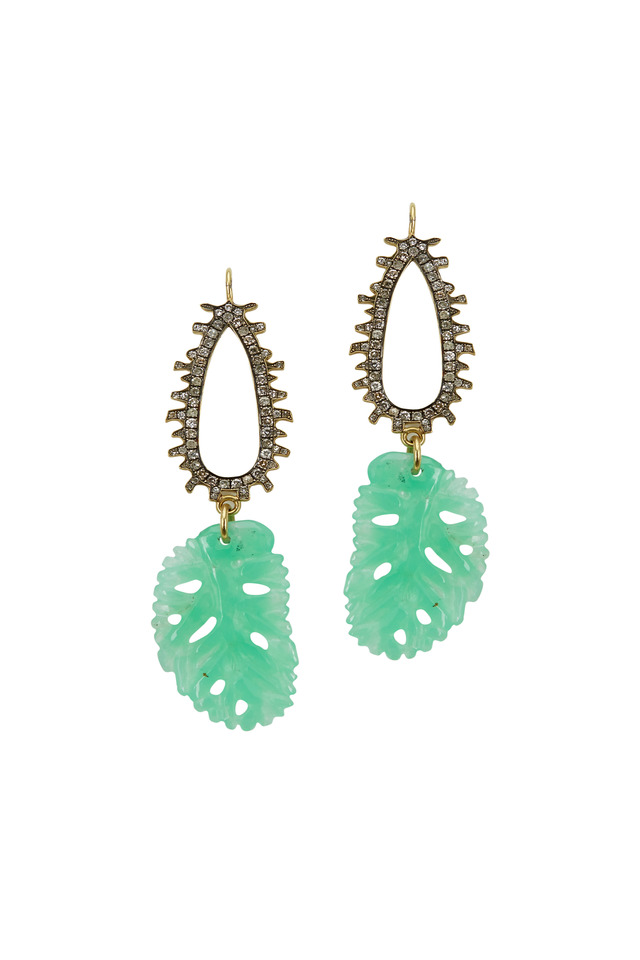 Yellow Gold Chrysoprase Diamond Dangle Earrings
