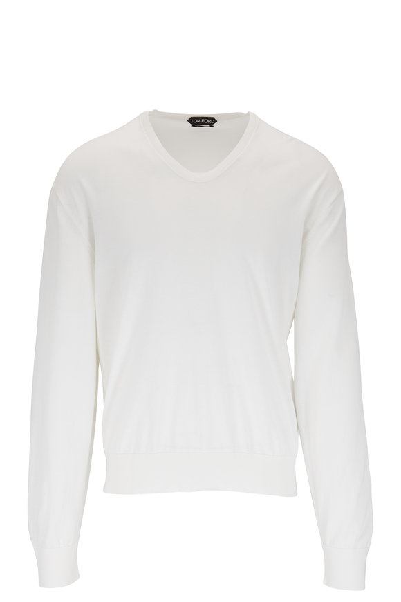Tom Ford Off-White Cotton & Silk Classic Sweater