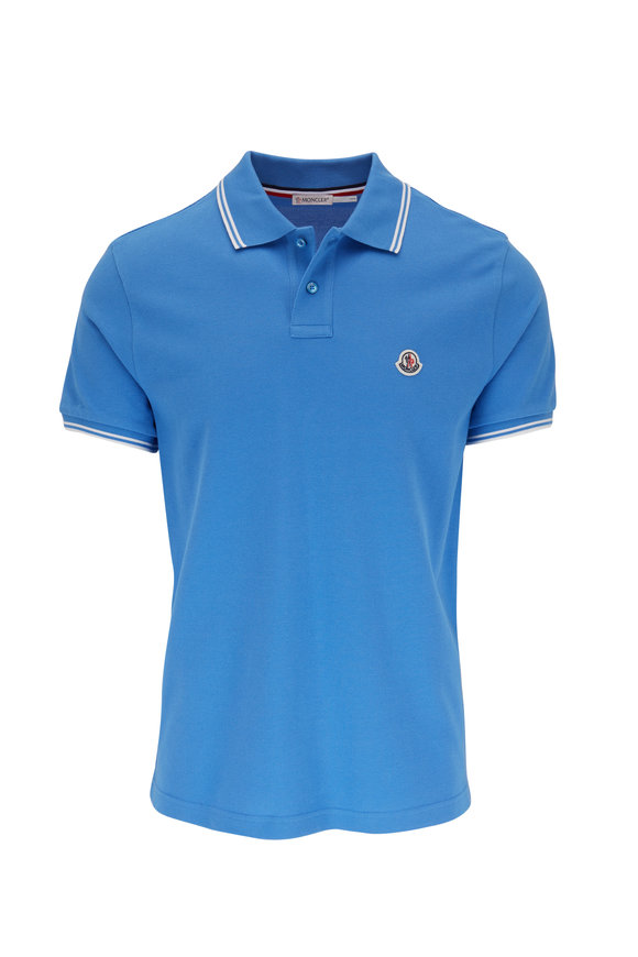 Moncler Cobalt Blue Contrast Piping Logo Polo