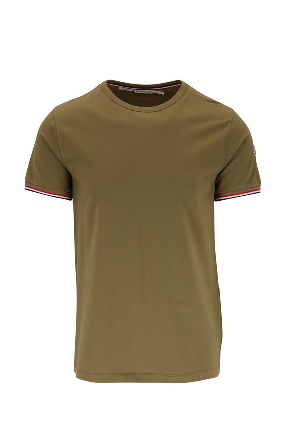 Moncler Olive Stretch Cotton Logo Piping Slim Fit T-Shirt