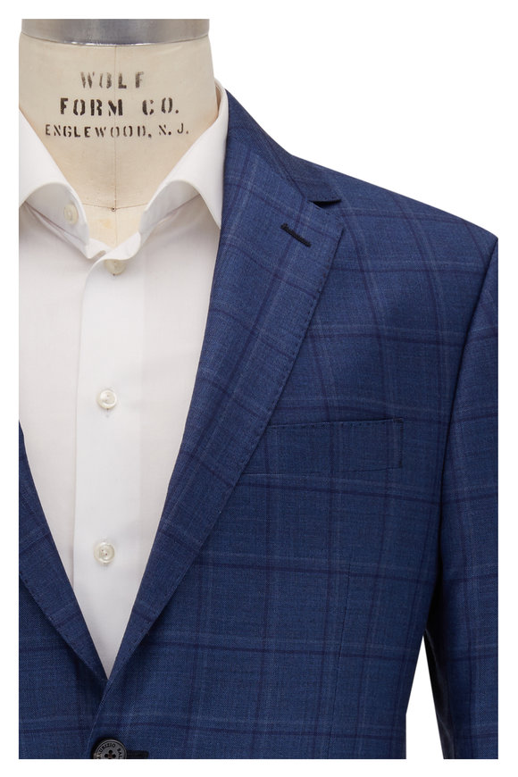 Maurizio Baldassari Navy Blue Windowpane Wool Sportcoat