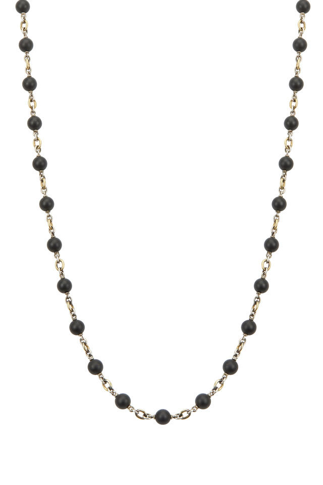 Yellow Gold & Silver Black Onyx Necklace