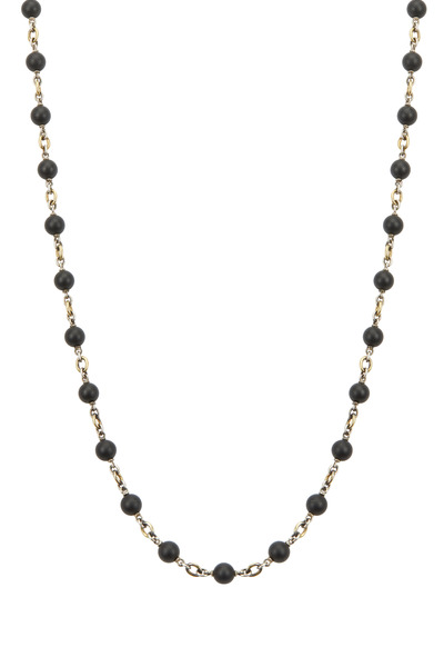 Sylva & Cie - Yellow Gold & Silver Black Onyx Necklace