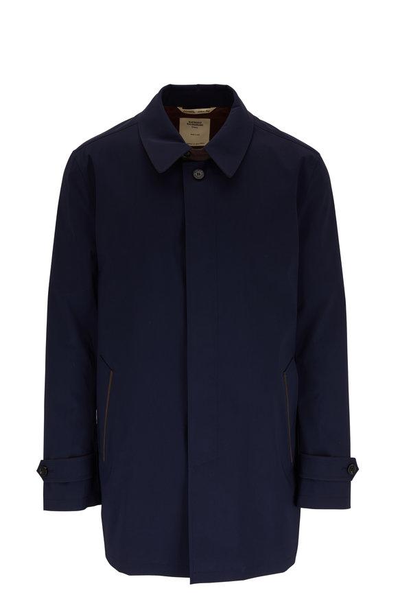 Maurizio Baldassari Brera Navy Wool Blend Raincoat