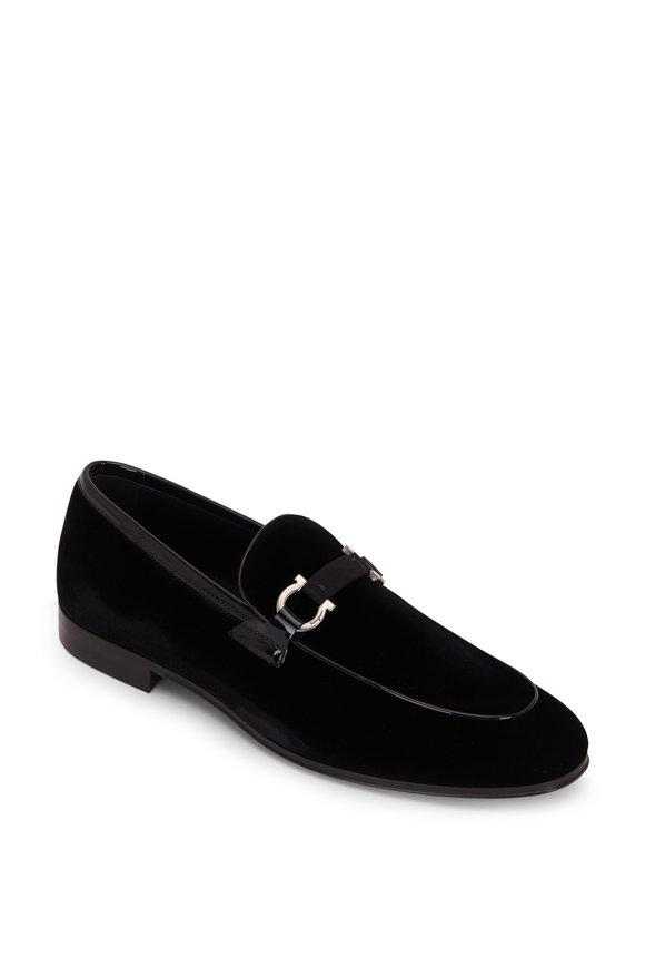 Salvatore Ferragamo Seral Black Velvet Gancini Bit Loafer