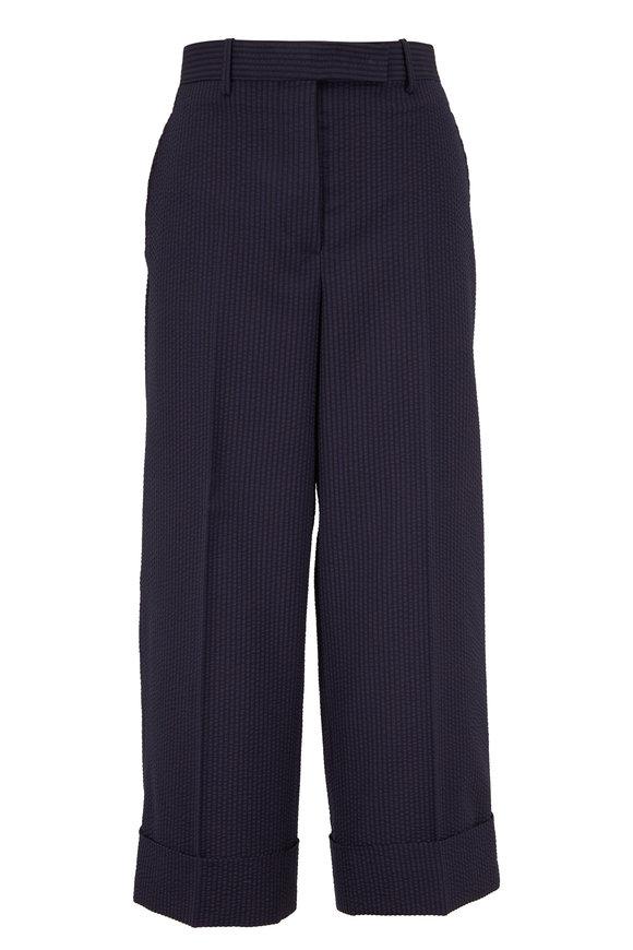 Thom Browne Navy Wool Seersucker Finish Sack Trouser