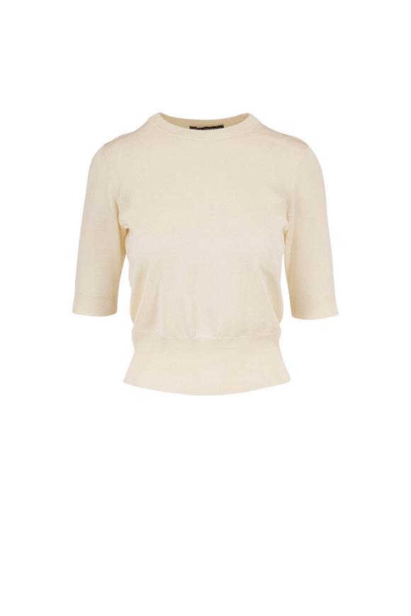 Dolce & Gabbana Natural White Silk Short Sleeve Knit Top