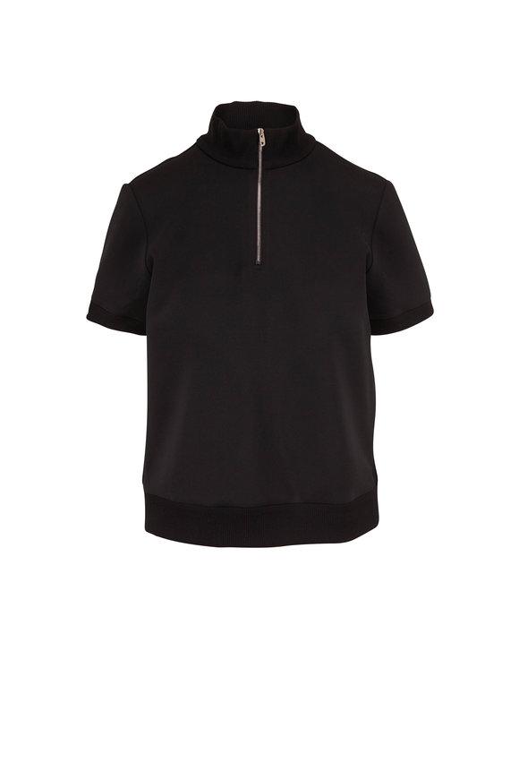 The Row Tolan Black Quarter-Zip Short Sleeve Top