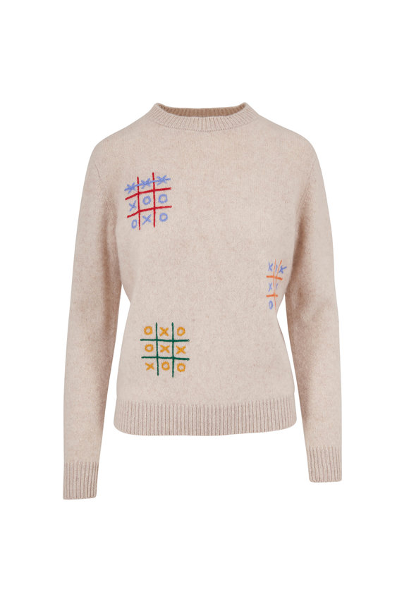 The Elder Statesman Off White Tic-Tac-Toe Cashmere Sweater