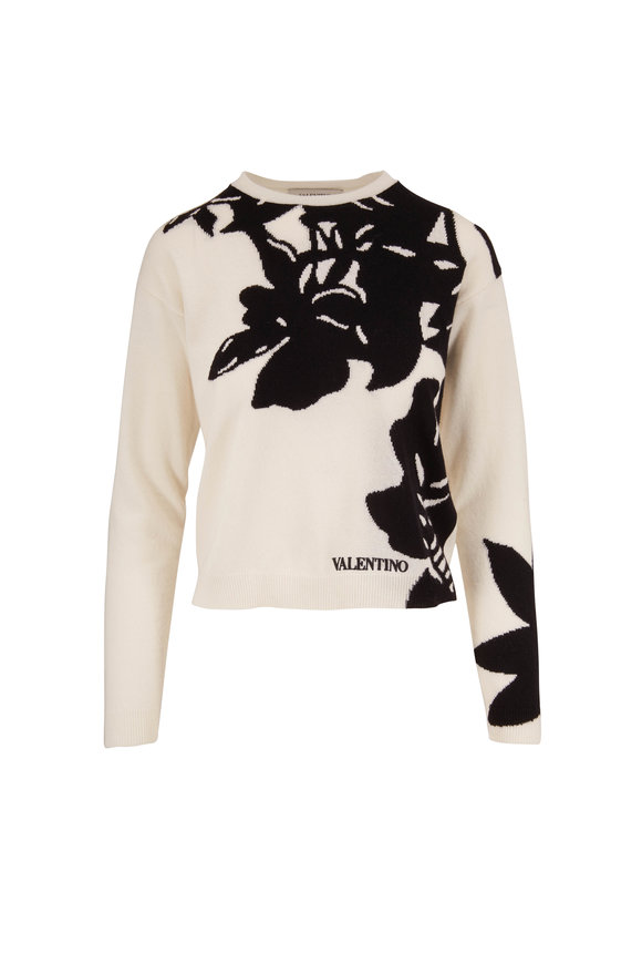 Valentino Black & Ivory Shadow Floral Sweater