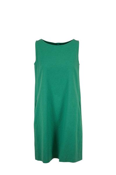 Antonelli - Lilium Green Stretch Cotton Sleeveless Dress