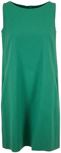 Antonelli Lilium Green Stretch Cotton Sleeveless Dress