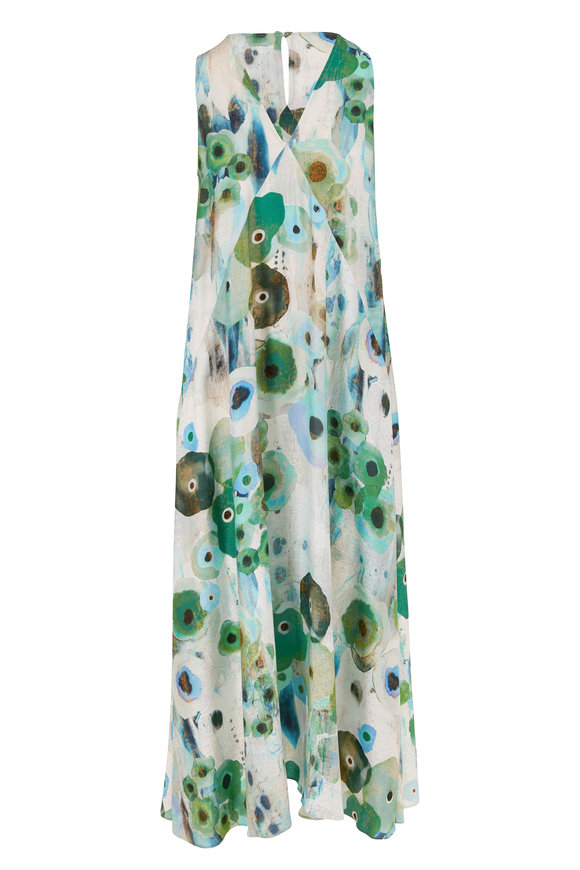 Antonelli Orange Multicolor Floral Sleeveless Maxi Dress