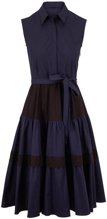 Antonelli Lawrence Navy & Black Colorblock Sleeveless Dress