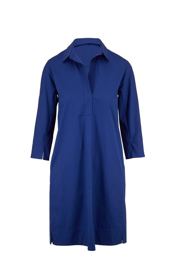 Antonelli Mabolo Blue Stretch Cotton Shirtdress