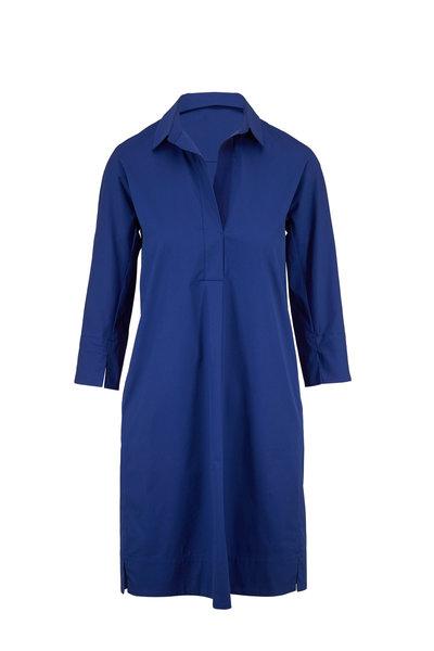 Antonelli - Mabolo Blue Stretch Cotton Shirtdress