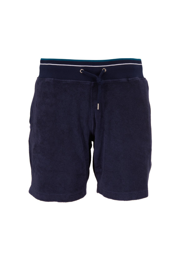 Orlebar Brown Afador Racked Navy Blue French Terry Shorts