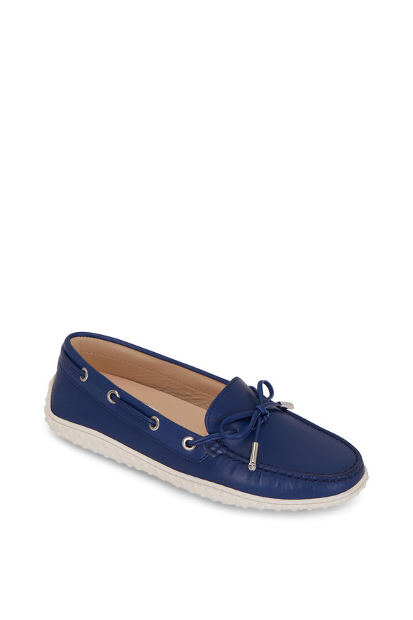 Tod's Gomma Blue Leather Boat Shoe