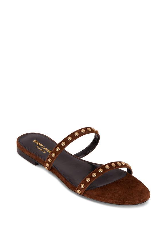 Saint Laurent Kiki Brown Suede Gold Studded Sandal