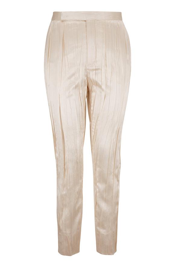 Saint Laurent White Stretch Silk Plissé Straight Leg Pant