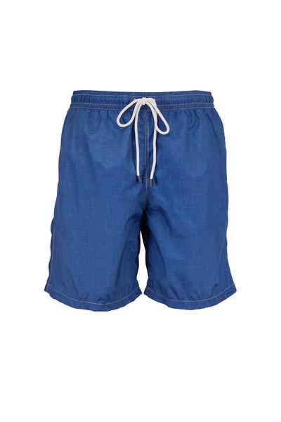 Fedeli - Solid Navy Blue Swim Trunks