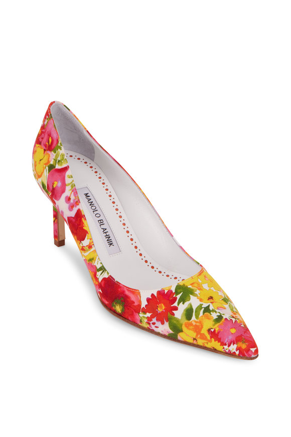 Manolo Blahnik Lisa Pink & Yellow Floral Satin Pump, 70mm