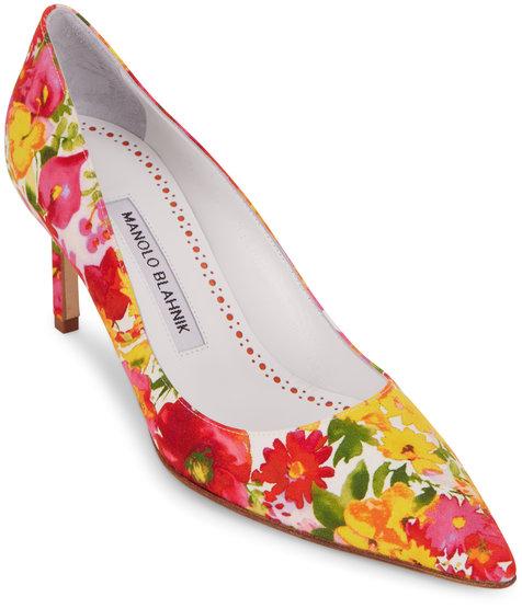 Manolo Blahnik Lisa Pink & Yellow Floral Satin Pump, 70mm
