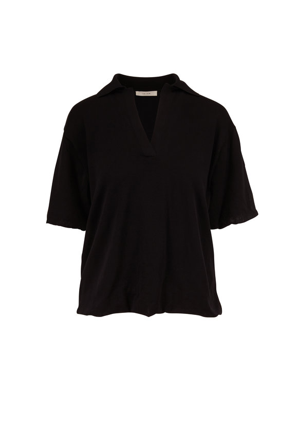 The Row Figomi Black Cotton Short Sleeve Top