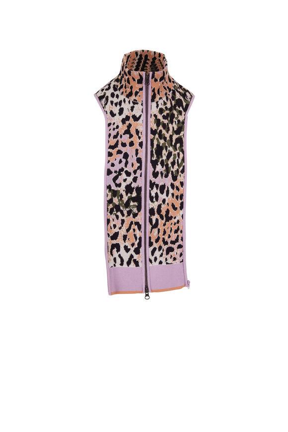 Veronica Beard Jai Multicolor Leopard Print Front Zip Dickey