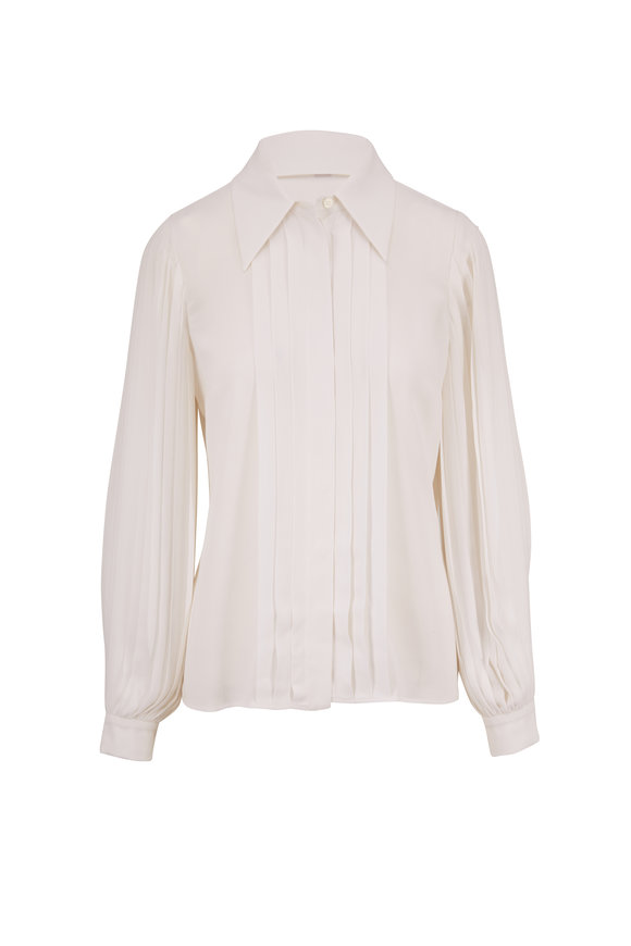 Michael Kors Collection White Silk Pleated Sleeve Button Down Blouse