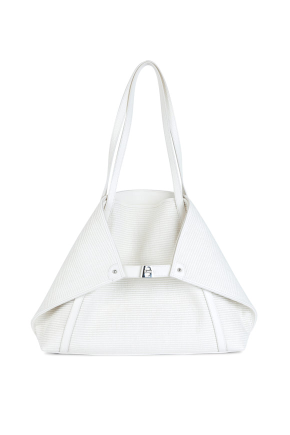 Akris AI Cream Raffia & Leather Medium Tote