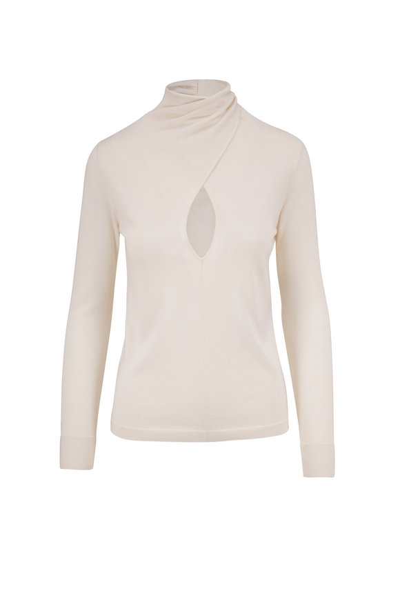 Tom Ford Ivory Cashmere & Silk Front Keyhole Sweater