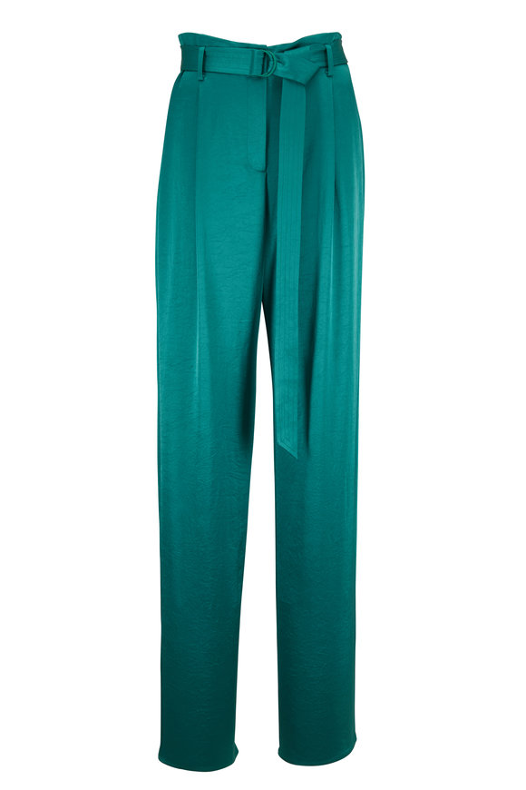 Sally LaPointe Green Satin Belted Pant