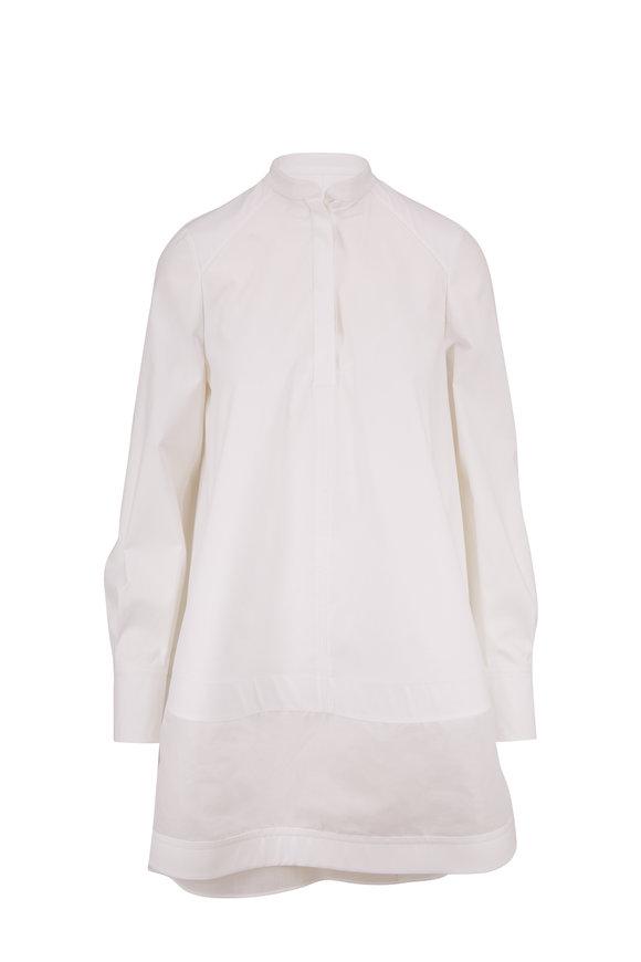 Valentino LeBlanc White Cotton Voluminous Long Sleeve Dress