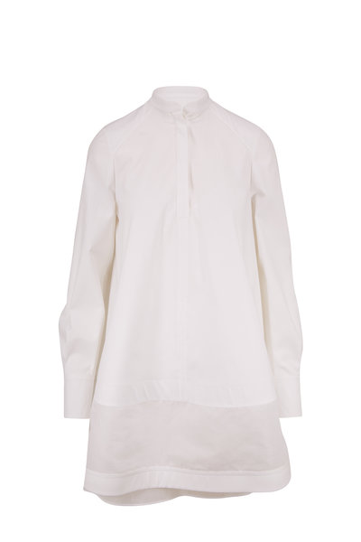 Valentino - LeBlanc White Cotton Voluminous Long Sleeve Dress