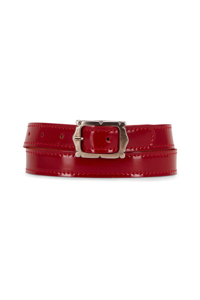 Kim White - Red Leather Mini Picture Frame Buckle Belt