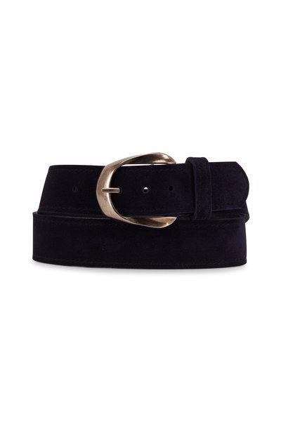 Kim White - Navy Blue Suede Inverted Buckle Belt