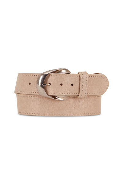 Kim White - Ivory Brushed Suede Inverted Buckle Belt