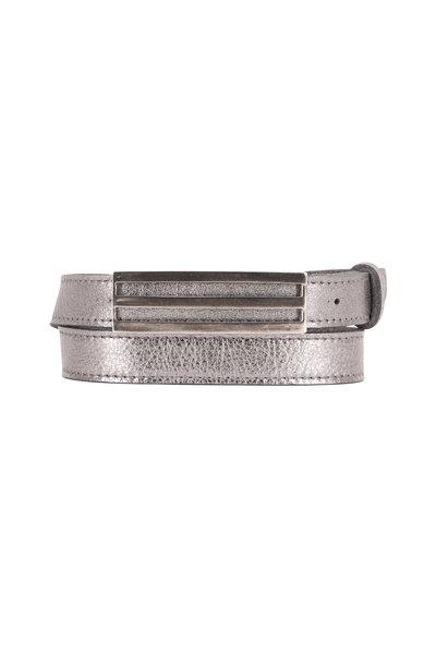 Kim White - Triple Linear Metallic Silver Pebbled Leather Belt