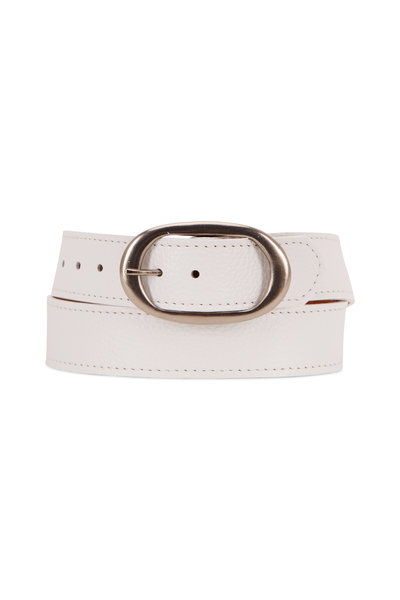 Kim White - White Pebbled Leather Oval Buckle Classic Belt