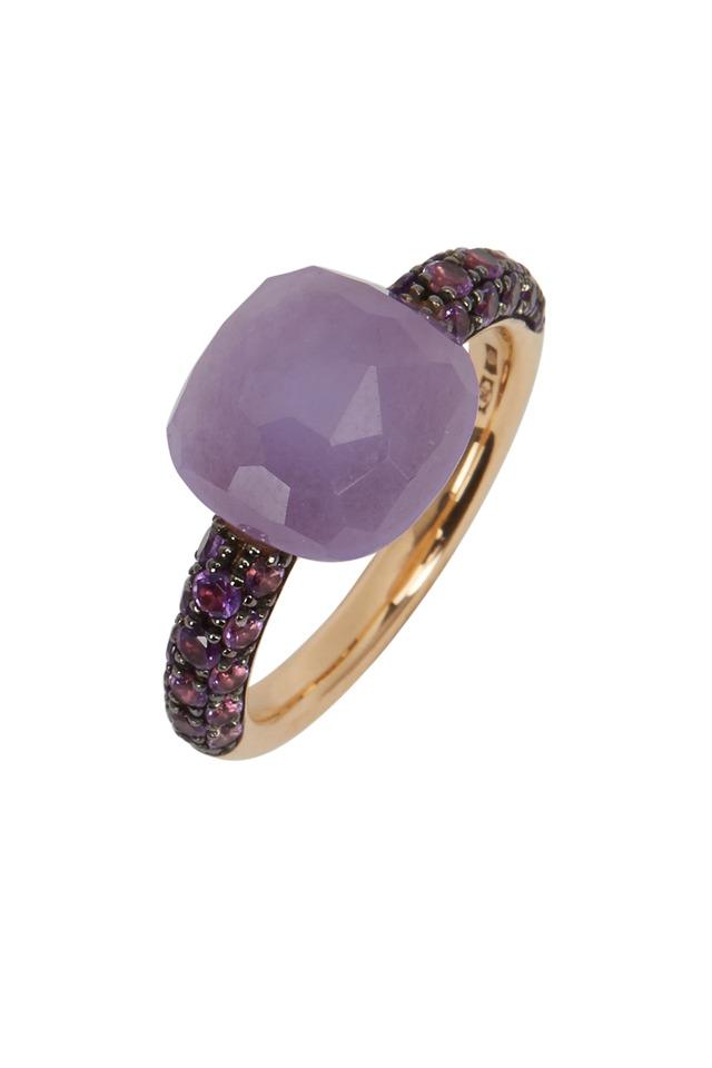 Capri 18K Rose Gold Jade & Amethyst Ring