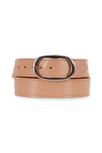 Kim White - Nude Leather Oval Buckle Classic Belt