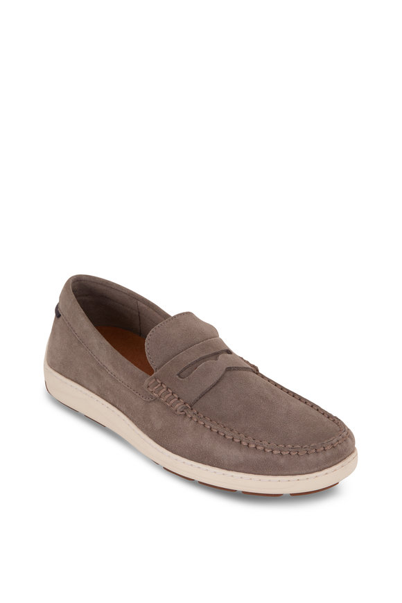 Trask Sheldon Gray English Suede Penny Loafer