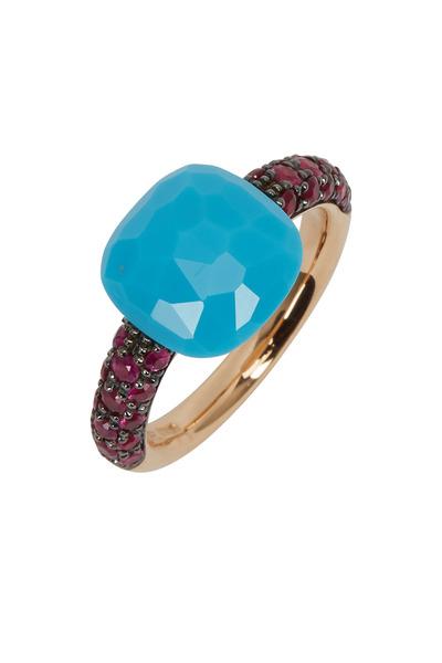 Pomellato - Pink Gold Turquoise Ruby Capri Ring