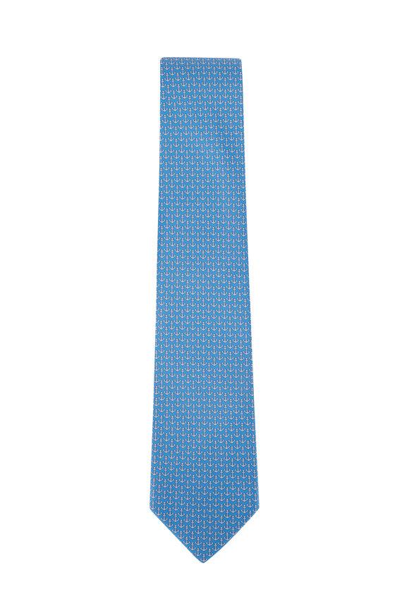 Salvatore Ferragamo Medium Blue Anchor Silk Necktie